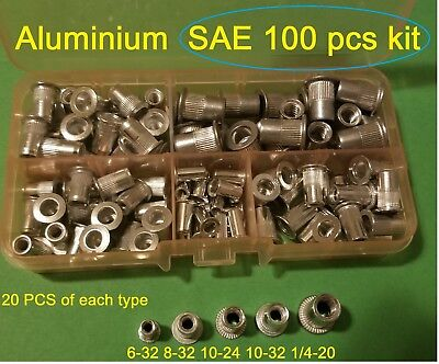 100 Pcs Sae Rivet Nut Rivnut Aluminum Assort Kit 6-32 8-32 10-24 10-32 14-20