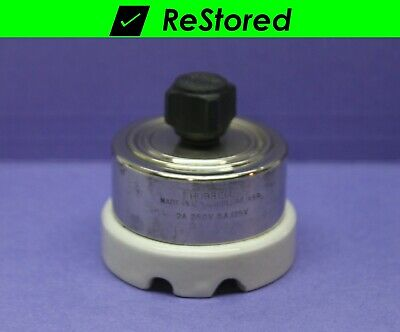 Vintage Rotary Switch - Double-pole Dpst - Chromeporcelain Turn - Hubbell