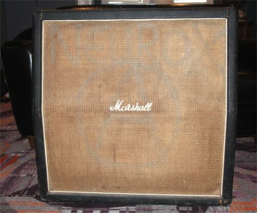 1969 Marshall 1960 Basketweave 4x12 Slant Cabinet with Original Greenbacks