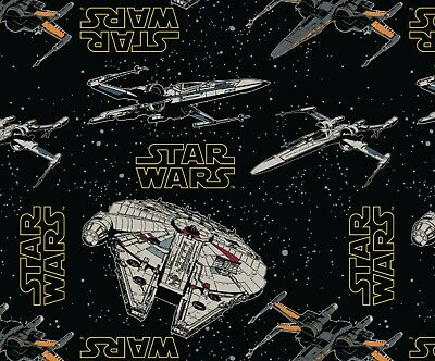 STAR WARS REBEL SHIPS ON BLACK 100% cotton fabric 44 inch/ 110cm space starwars