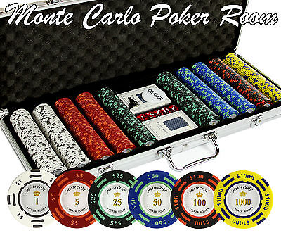 500 PC Monte Carlo Poker 14 Gram CLAY Poker Chip Set with Case & Real Cards