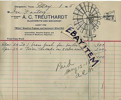 For sale 1915 LETTERHEAD Georgetown Texas A C TREUTHGARDT blacksmith AERMOTOR WIND MILL