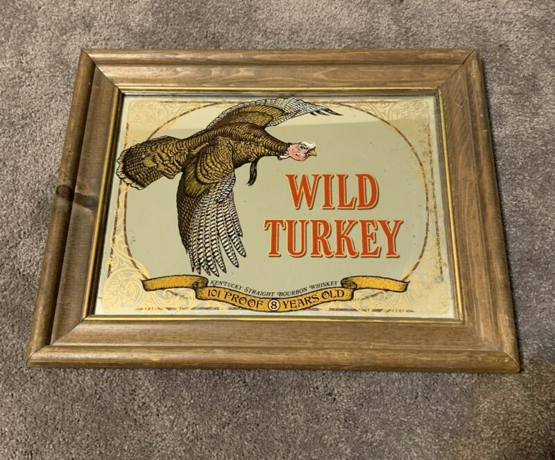 VINTAGE WILD TURKEY BOURBON BAR MIRROR ADVERTISING WOOD FRAME 12x15