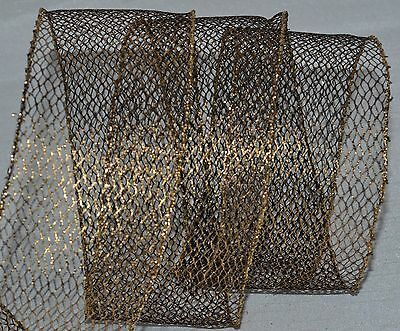 (Wired Ribbon~Glitz Metallic Black Gold Mesh~2.5