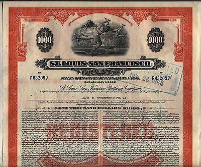 $1,000 St. Louis San Francisco Railway Bond Stock Certificate Frisco Railroad