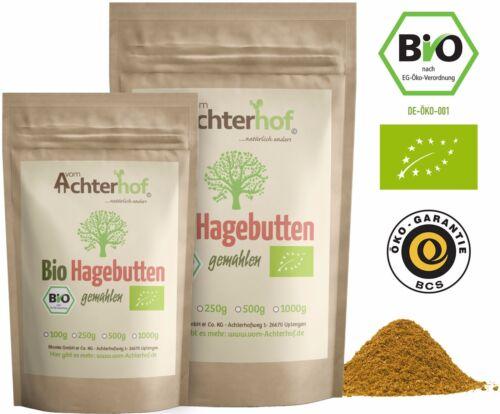 Bio Hagebuttenpulver 1 kg ganze Hagebutte vermahlen | 100% Bio Hagebutten Pulver