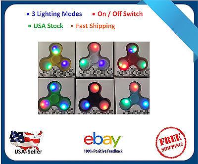 LOT 20X LED FIDGET HAND TRI SPINNER STEEL BALL TOY EDC FINGER GYRO fast shipping