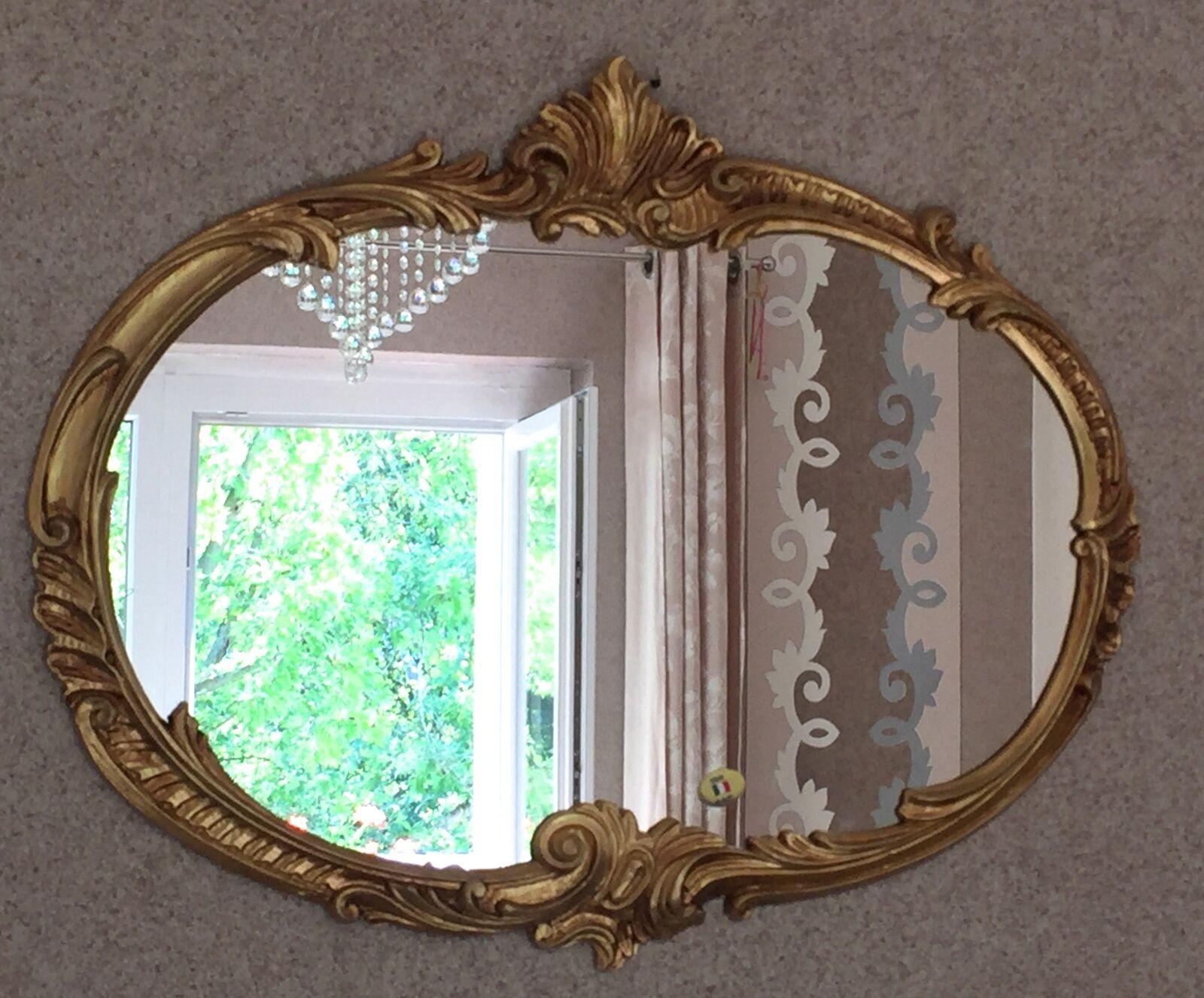 Wandspiegel barock oval antik gold 52x42 badspiegel vintage ovaler spiegel eur 54 90 picclick de - Wandspiegel oval ...