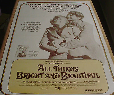 ALL THINGS BRIGHT & BEAUTIFUL formely folded poster, John Alderton, 1978