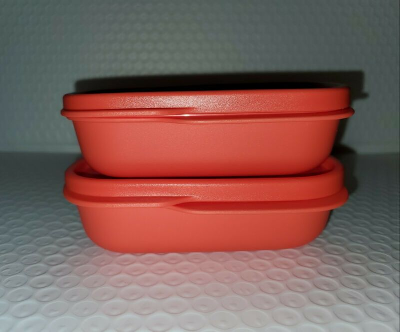 New TUPPERWARE My Lunch Inner Containers SET OF 2 Orange 4 OZ Free US Shipping