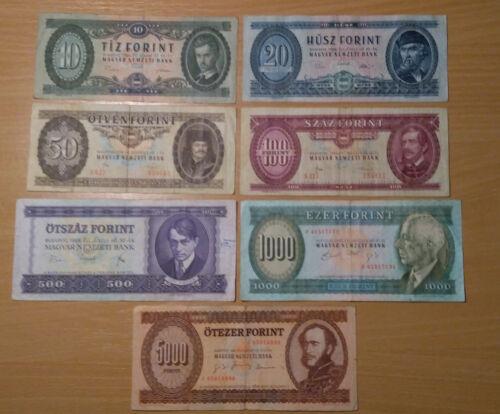 Hungary Lot Forint 7 banknote 1969 - 1995 (10, 20, 50, 100, 500, 1000, 5000 HUF)