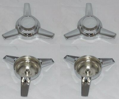 4 PIECES BOLT STUD MOUNT SPINNER TRIBAR KNOCKOFF CHROME WHEEL RIM CENTER CAPS