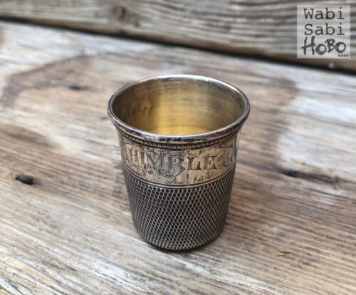 """TRUE 19th c. VICTORIAN Antique """"ONLY A THIMBLE FULL"""" Sterling Silver SHOT GLASS"""