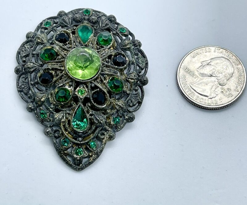 Antique Vintage New England Glass Works Green Black Stones Fur Dress Clip