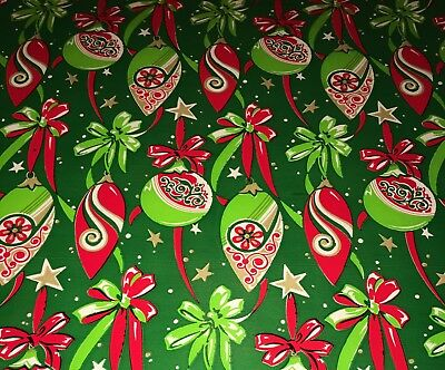 VTG CHRISTMAS WRAPPING PAPER GIFT WRAP 1960  SHINY BRITE ORNAMENTS RED GREEN NOS ()