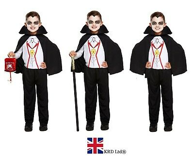 BOYS VAMPIRE DRACULA FANCY DRESS COSTUME Halloween Scary Outfit Childs Kids UK