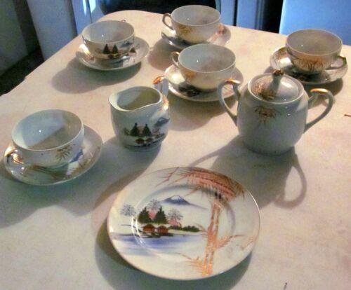 5 Servings 3 Piece Mt Fuji Kutani Japanese Tea Set, Hand Painted Sugar~Creamer.