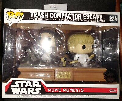 "STAR WARS MOVIE MOMENTS TRASH COMPACTOR ESCAPE 2 PACK 3.75"" POP VINYL FUNKO 224"