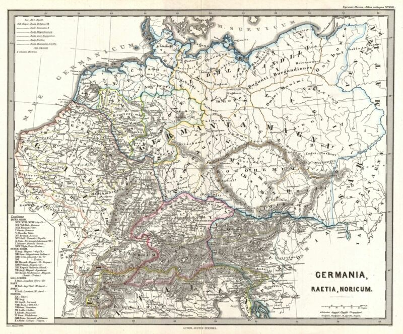 1865 Spruner Map of Germany in Antiquity