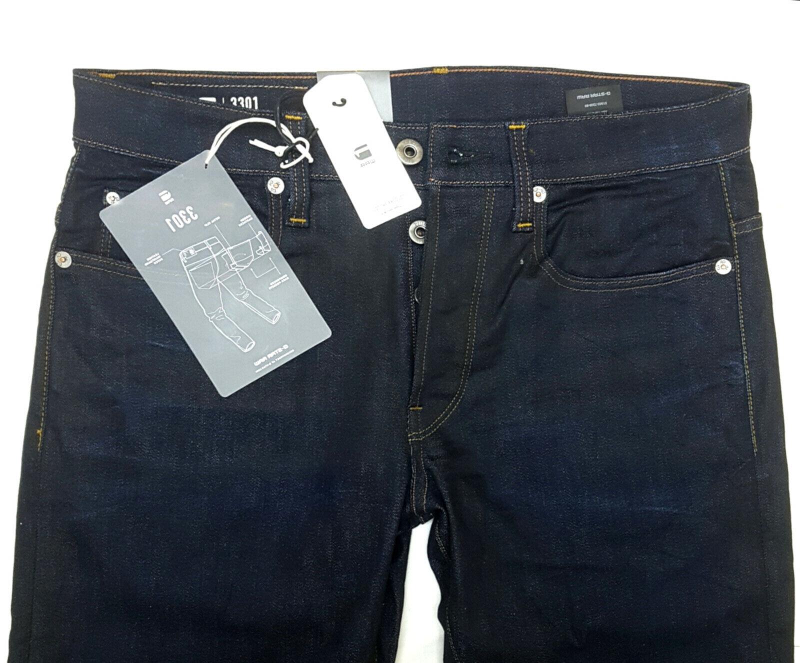 G-Star Herren Jeans Hose 3301 Straight Tapered Fit Dark Aged Black Blue Men NEU