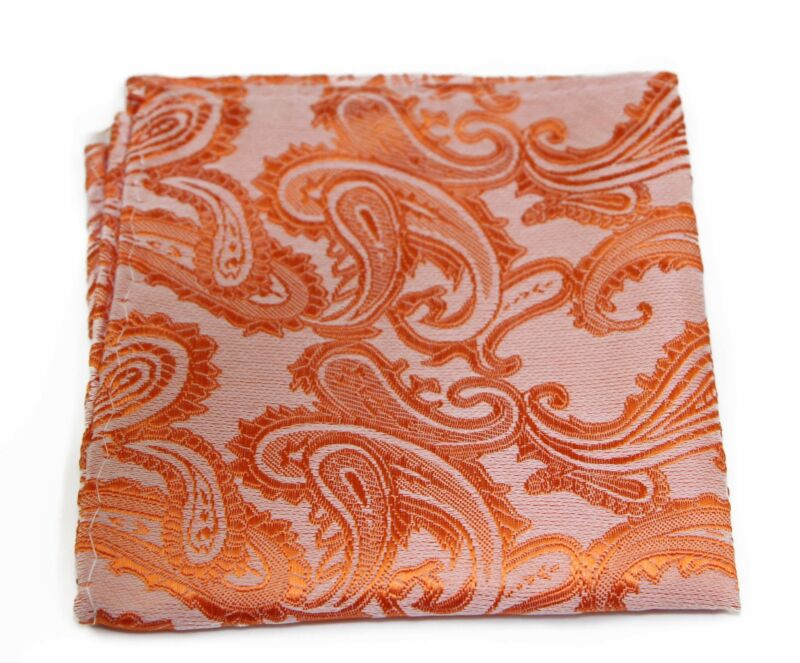 Mens Orange Paisley Pocket Square