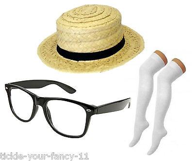 Women's Naughty School Girl Costume Trinian Straw Hat Glasses Socks Fancy Dress