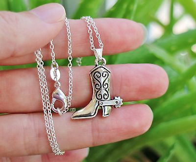 Cowgirl Cowboy Boot NECKLACE Horse Pony Lover Pendant .925 Sterling Silver Chain