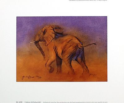 "JUSTIN TEW ""Paddington"" elephant africa SIGNED LTD ED! SIZE:29cm x 36cm NEW RARE"