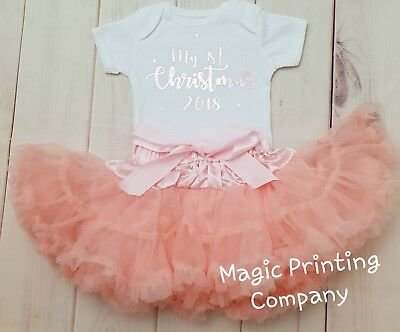 Baby Girls 1st Christmas Outfit Tutu Costume rose gold top Vest Photo shoot Pink