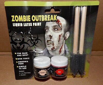 Halloween Zombie Outbreak Liquid Latex Paint Face & Body USA Non Toxic 172C  (Halloween Painted Faces Zombies)