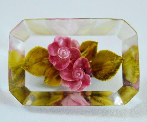 Vintage Pink Roses Reverse Intaglio Lucite Brooch