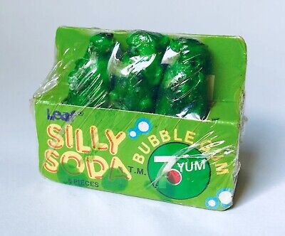 Vintage 1985 Leaf SILLY SODA 7 Yum Bubble Gum candy container Fleer RARE up 7-up Bubble Gum Soda
