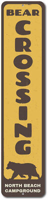 Bear Crossing Vertical Sign, Personalized Campground Location Name ENSA1002287