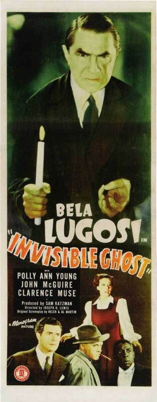 INVISIBLE GHOST Movie POSTER 14x36 Insert Bela Lugosi Polly Ann Young John
