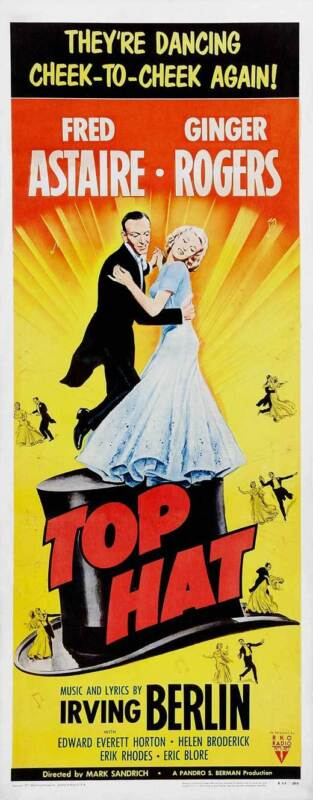 TOP HAT Movie POSTER 14x36 Insert Fred Astaire Ginger Rogers Erik Rhodes Helen