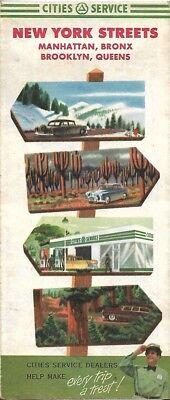1953 CITIES SERVICE Road Map NEW YORK CITY Manhattan Brooklyn Bronx Queens
