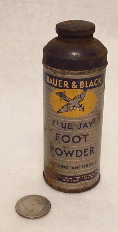 vintage Blue Jay Foot Powder container Bauer & Black