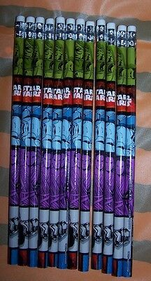 Star Wars Pencils~#2 Lead~Wood~Lot of 12 pieces~Various Characters on - Star Wars Pencils