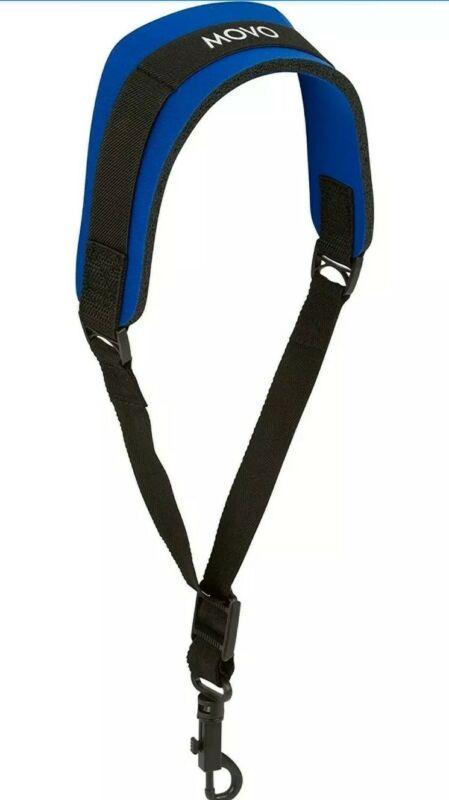 Movo MS-20R-B Neoprene Instrument Strap for Saxophones Clarinets Blue/Short