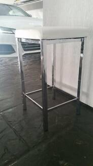 BAR STOOLS 6700MM HIGH, WHITE LEATHER & STAINLESS STEEL