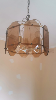 Glass Chandelier with 5 Globes - Art Deco - Vintage