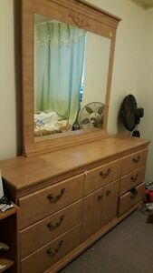 dresser and queen size bed headboard said table