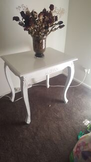 White antique side table