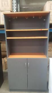 LARGE CREDENZA W/ HUTCH cabinet storage shelf cupboard office