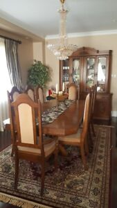 All wood traditional Dining Set with 8 chars & Display Cabinet