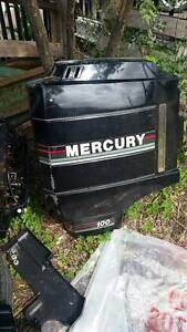 OUTBOARD MOTOR-long shaft 100hp merc. 4cyl. LOW HOURS Gerringong Kiama Area Preview