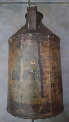 ANTIQUE JAPANNING ARTIST PAINT TIN / OIL CAN BY ROSS & Co TRINITY STREET LEEDS