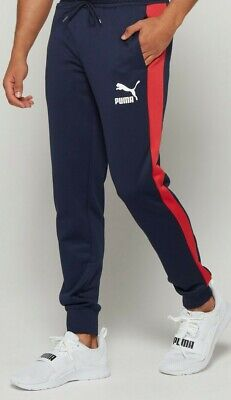 Puma T7 Track Pant Bottoms Navy Blue Red Stripe Mens Slim Fitting RRP £44.99