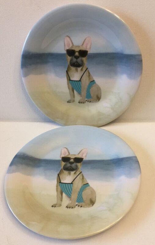 French Bulldog On Beach Melamine Plates