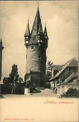 LINDAU Bodensee 1900/10 alte Postkarte Häuser Strassen Partie am Diebsthurm Turm